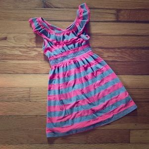Zunie 4T hot pink and gray striped sundress